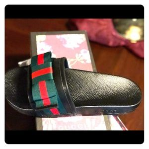 Shoes - Black Slides with Red and Green Bow